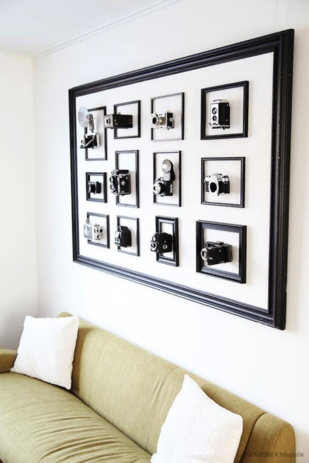 Câmera antiga na decoração, decoração vintage e retrô
