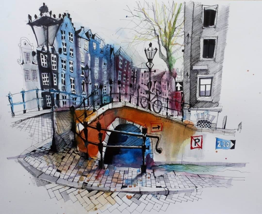 04-Amsterdam-from-Canals-to-Cobblestones-Ian-Fennelly-Urban-Sketches-Colorfully-Painted-www-designstack-co