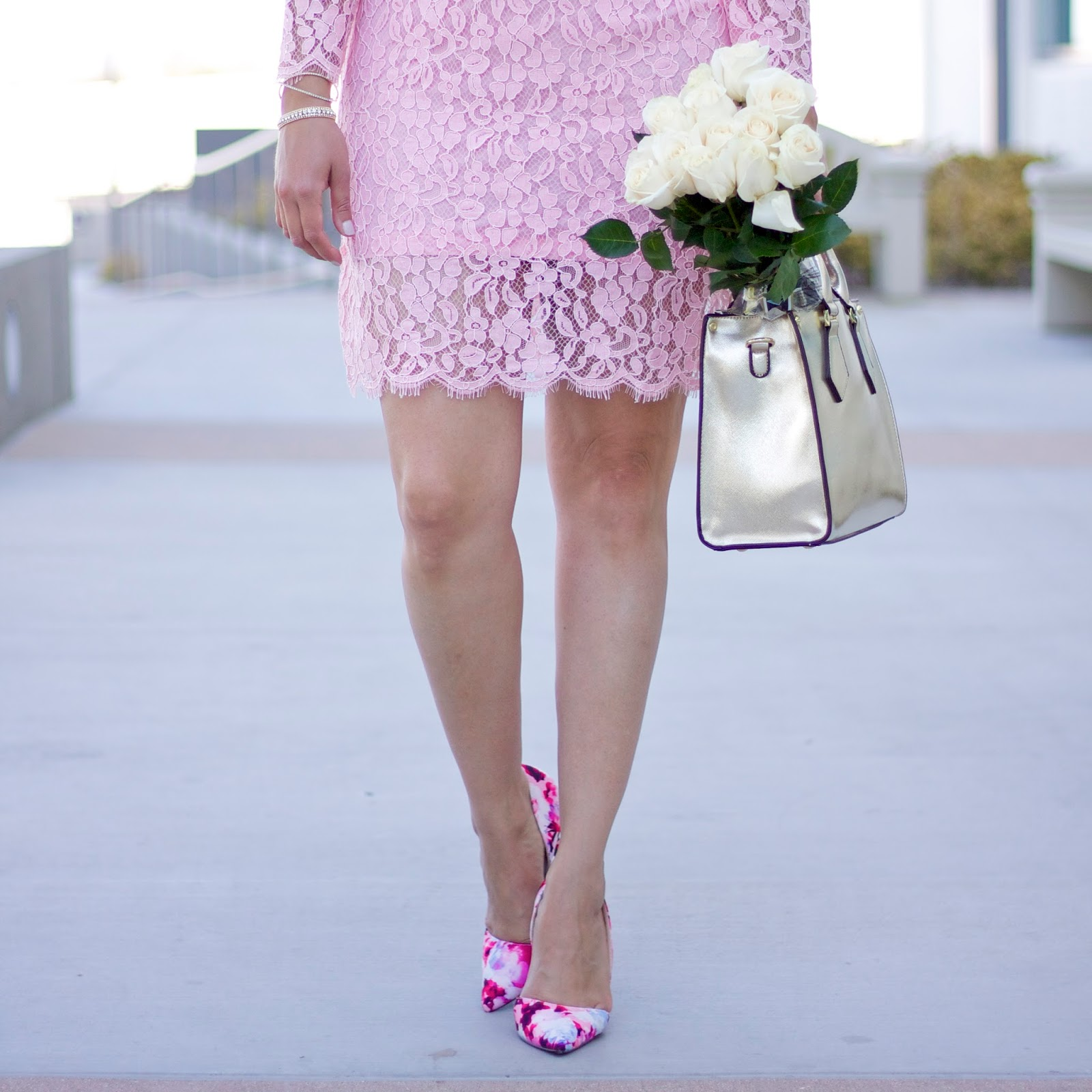 how to wear floral heels, how to wear a pink floral dress, what to wear to a Spring wedding, fun floral heels