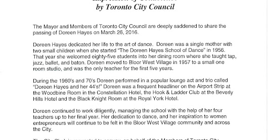 The Doreen Hayes School of Dancing: Toronto City Council Condolence