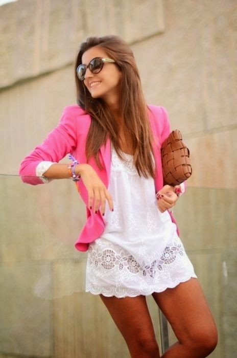 teen fashion white dress + pink blazer