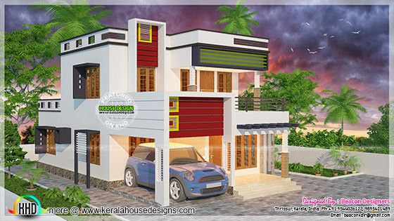 Modern flat roof villa