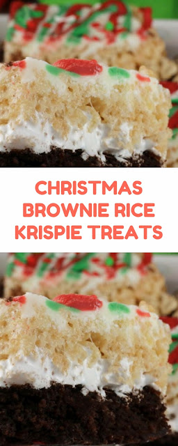CHRISTMAS BROWNIE RICE KRISPIE TREATS