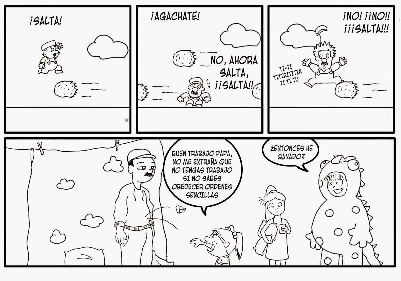 webcomic, jen juega con su familia al Super Mario