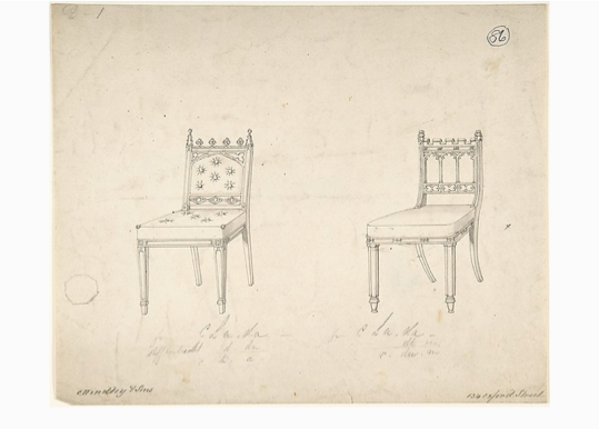Chairs, Charles Hindley & Sons, 1841-1884, London, Pen and Black ink, The MET, New York.