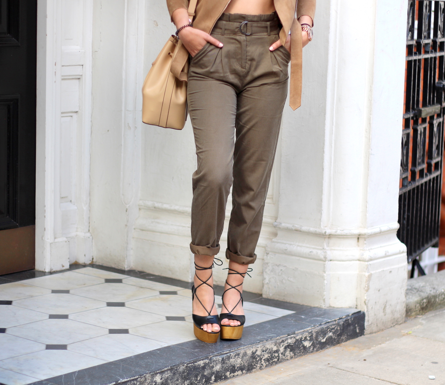 summer style khaki high waisted trousers