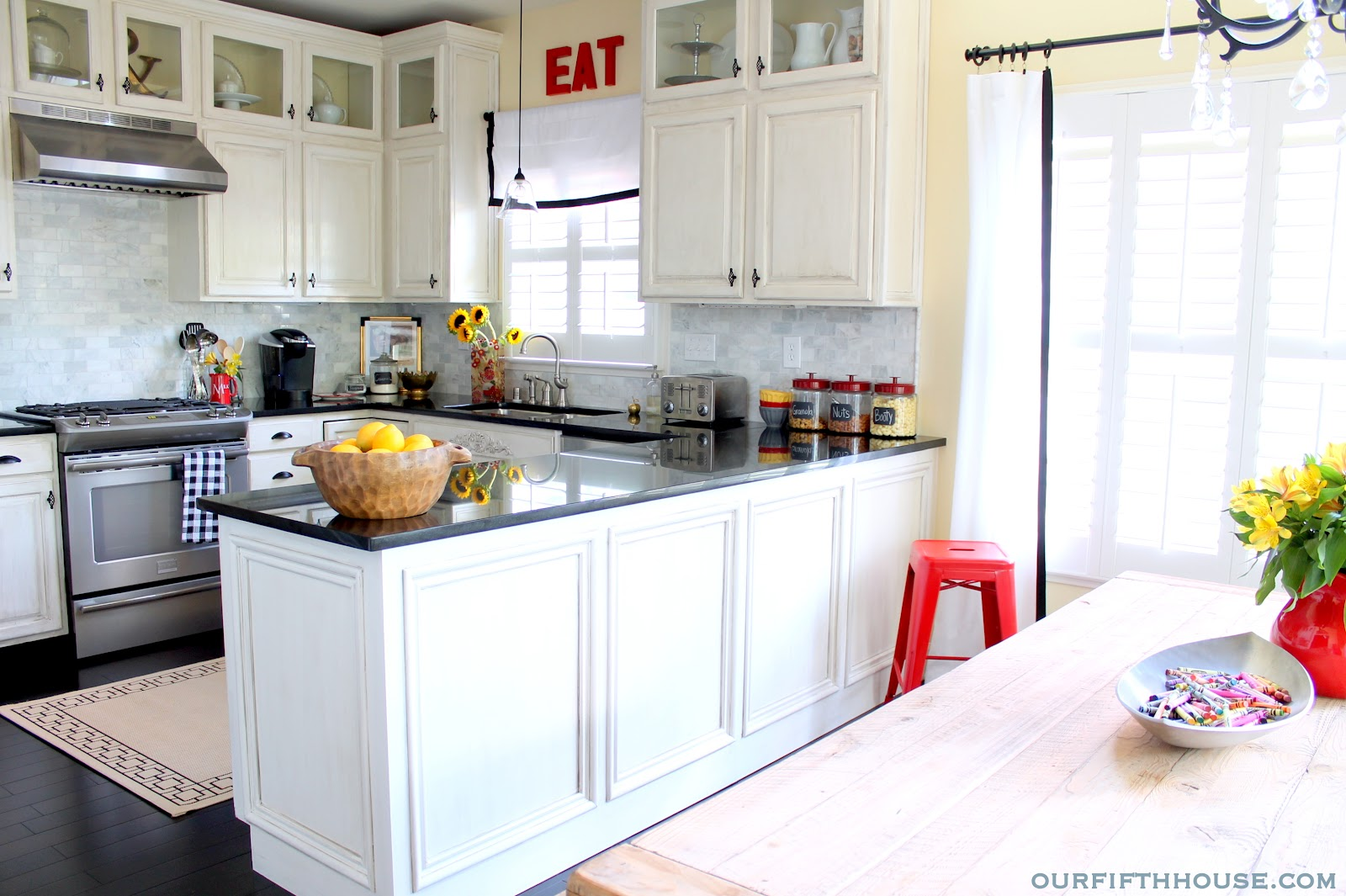 Kitchen cabinet accessories names - Distressed White Kitchen Cabinets