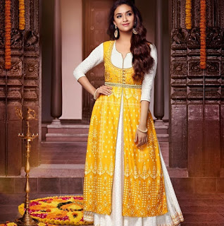 Keerthy Suresh in Yellow Dress with Cute Smile for Reliance Trends Ad Shoot Images