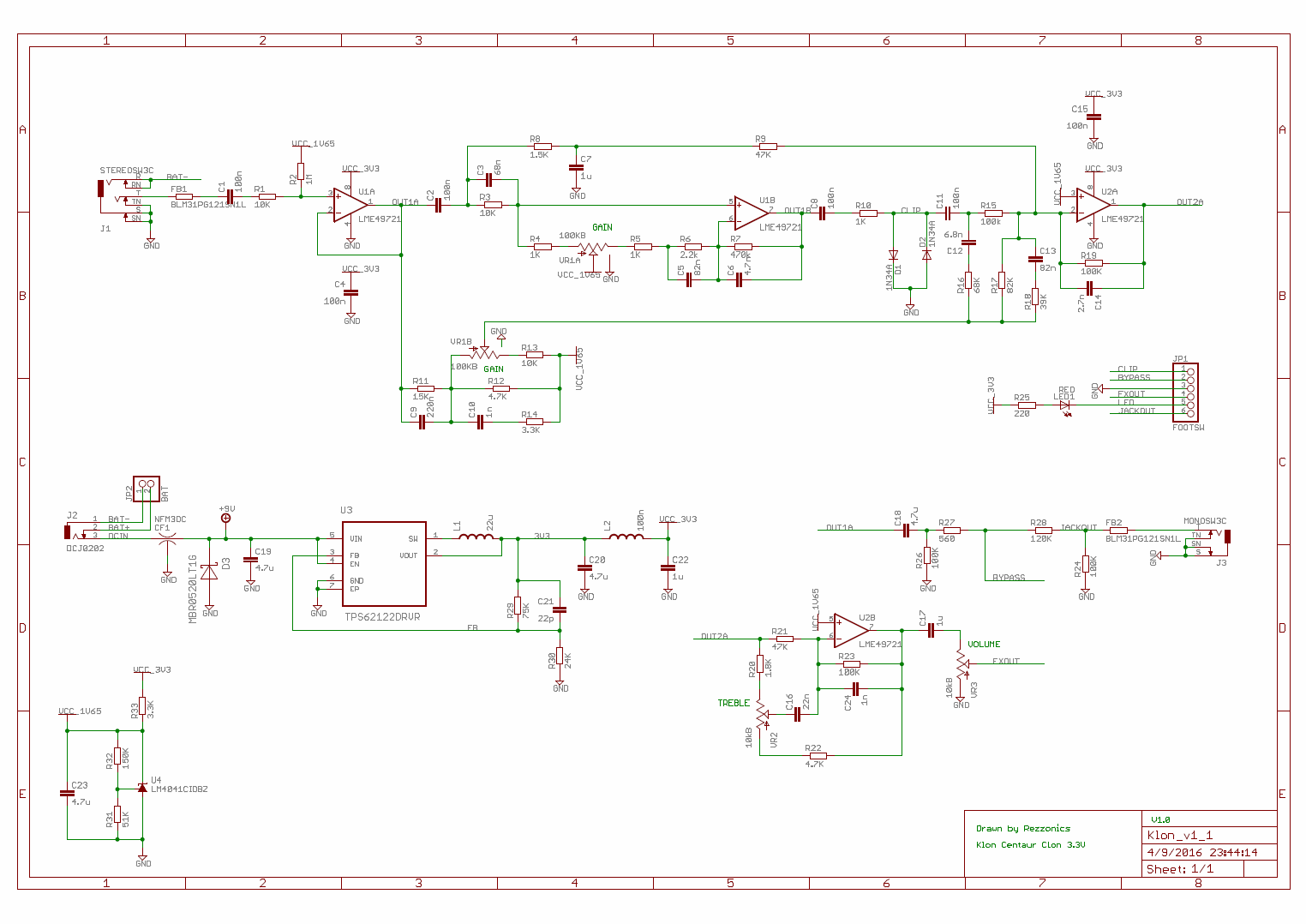 Rezzonics: Klon 3v3 Clone: Schematics and PCB layout