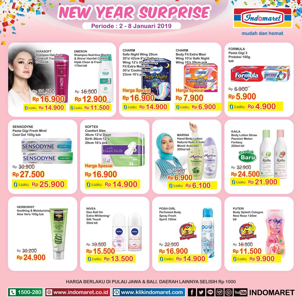 #Indomaret - Promo New Year Surprise Produk Kecantikan (s.d 08 Jan 2018)