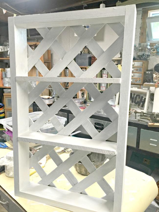 wooden lattice shelf
