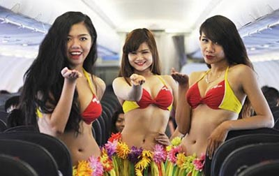 Bikini Dance show in a flight – VietJet to Singapore