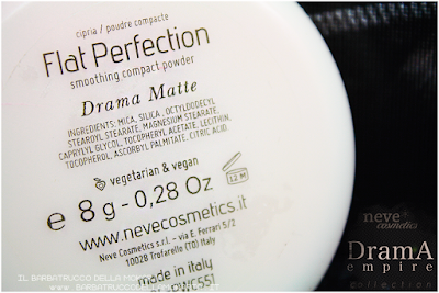 consigli Drama Matte powder, cipria compatta  drama empire collection neve cosmetics