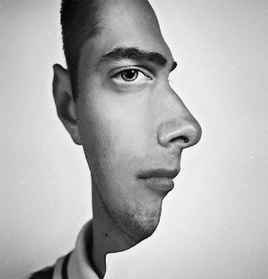Retoque digital de perfil humano.