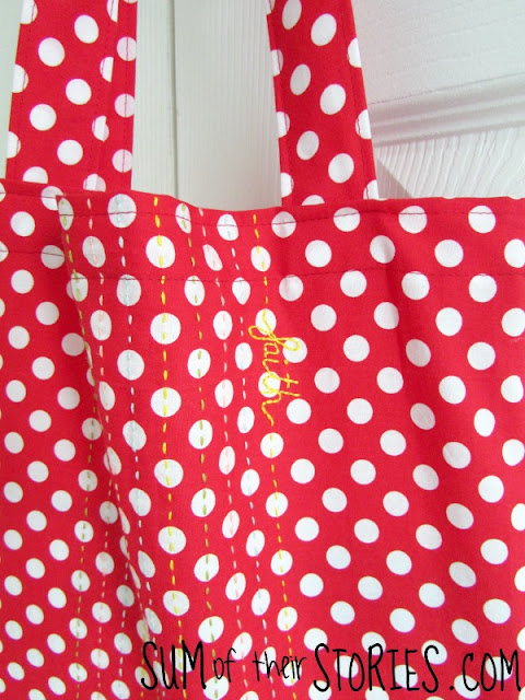 Personalised Polka dot embroidered tote bag tutorial
