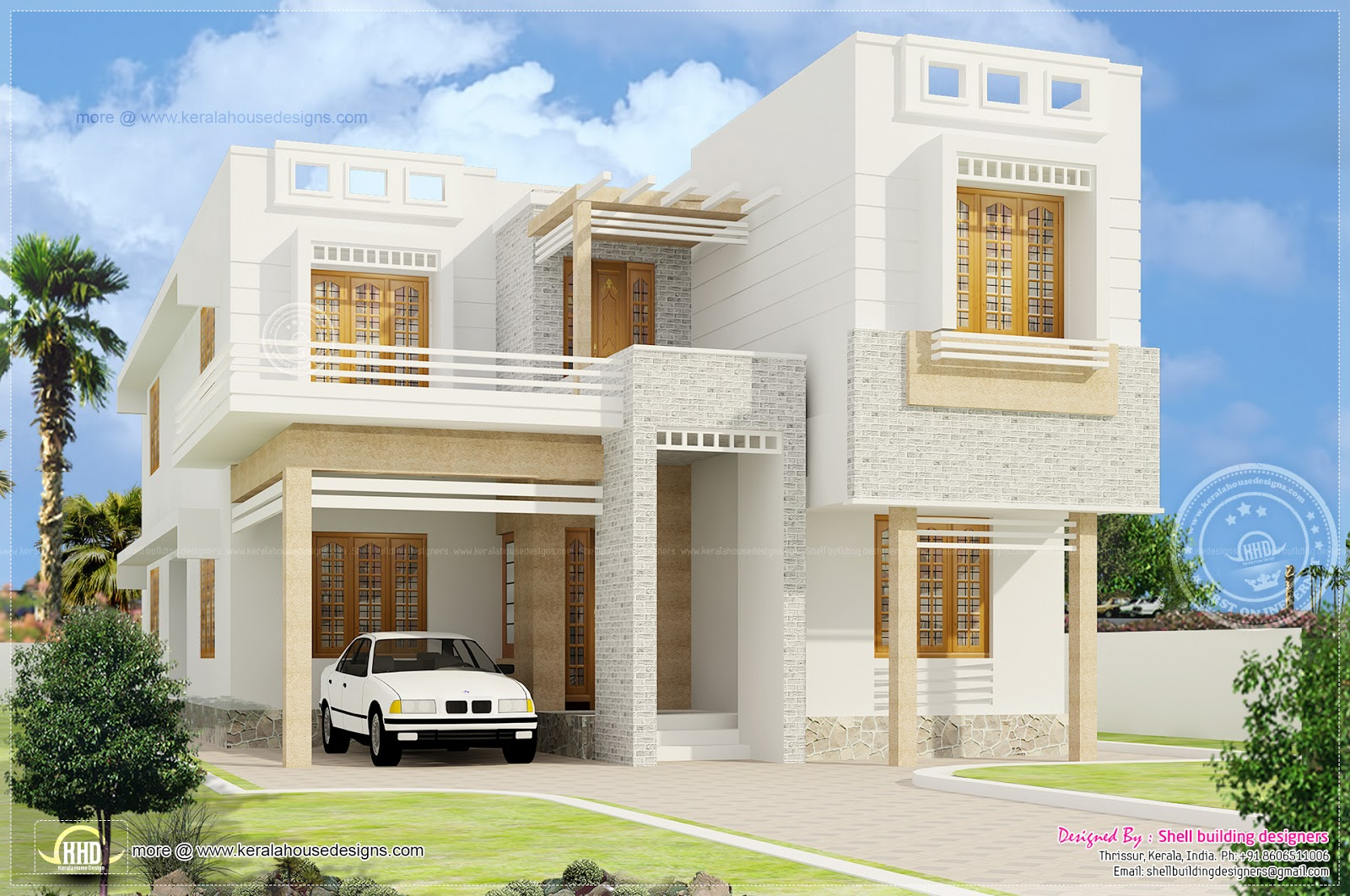 Beautiful 4 bedroom house exterior elevation kerala home for Indian home outer design