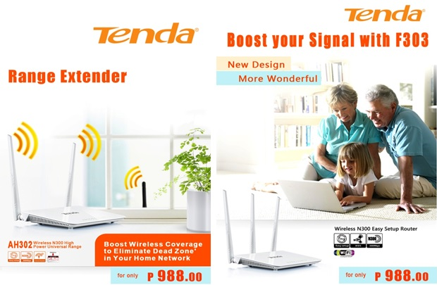 Tenda AH302 300Mbps range extender and F303 300Mbps router