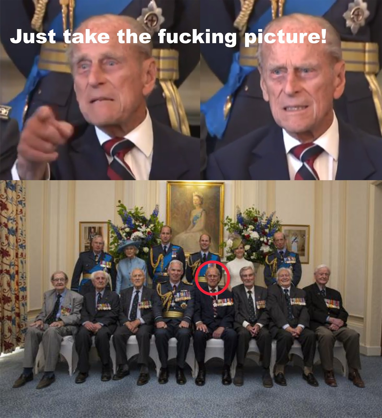 http://www.theguardian.com/uk-news/2015/jul/10/prince-philip-tells-photographer-just-take-the-fucking-picture