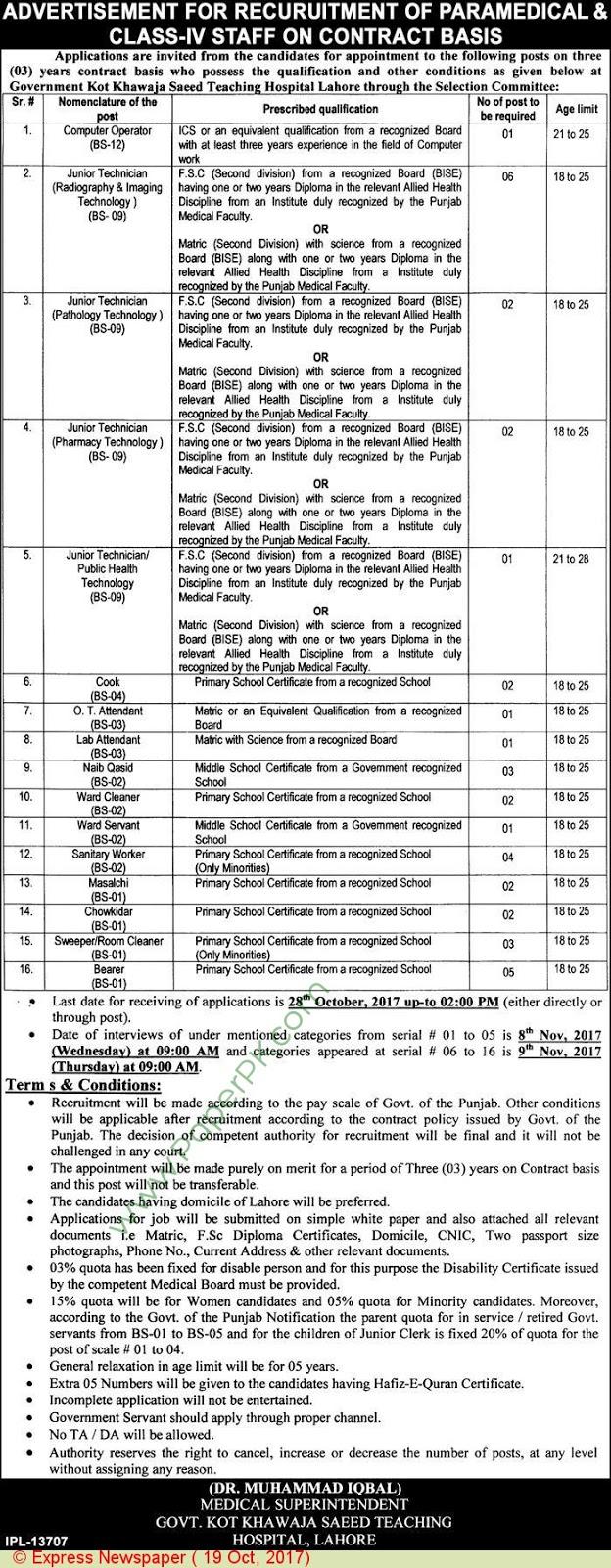 Government Kot Khawaja Saeed Teaching Hospital Lahore Jobs