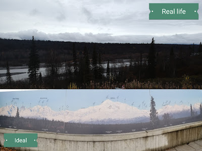 comparison of what the view should look like, and the clouds that we actually see