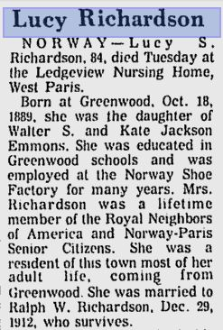 Obituary of Lucy Emmons Richardson