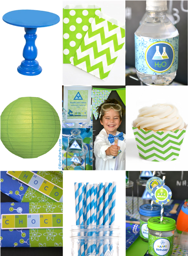 Blue & Green Mad Scientist Birthday Party Ideas - BirdsParty.com