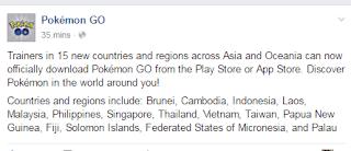Pengumuman Resmi Rilis Pokemon Go Indonesia Facebook