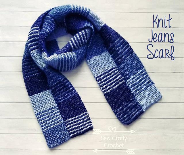 Knit Jeans Scarf Sew Crafty Crochet