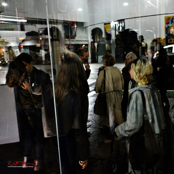 People and reflections at Alaska - Street Fashion Sydney photographed by Kent Johnson.