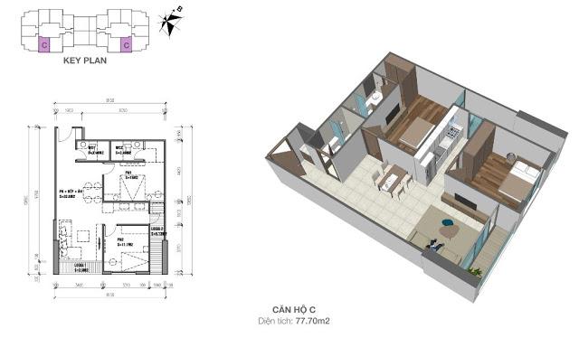 Mặt bằng căn hộ 77,7 m2 chung cư Eco Dream City