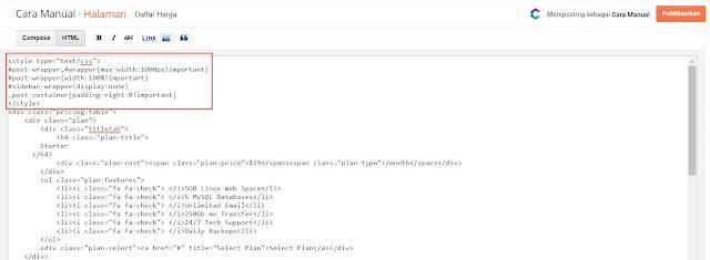 Memasukkan Kode HTML Ke Blogger 1