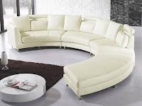 Beliani Curved Sectional Sofa Cream Leather Rotunde