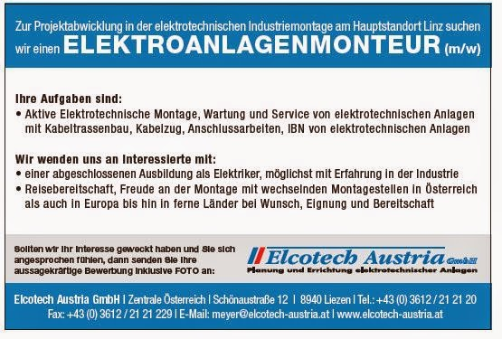 Arbeitsmarkt Inn Salzach Elcotech Austria siucht einen