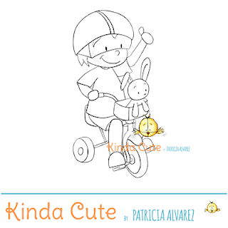 Boy riding a tricycle digital stamp