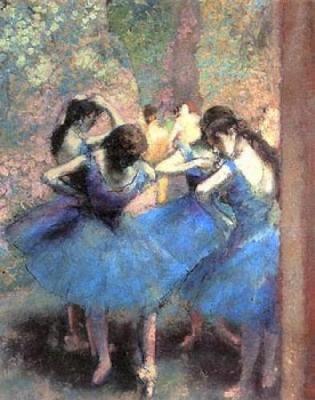 Dançarinas de Azul - Edgar Degas e suas principais pinturas ~ O Pintor de Bailarinas