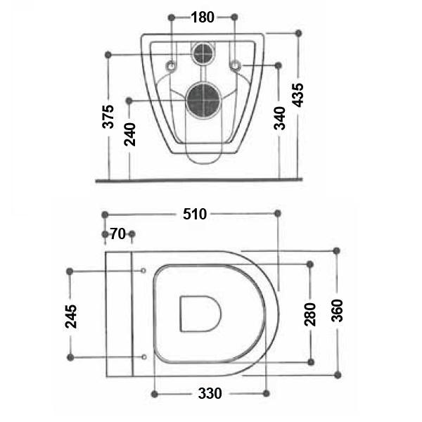 Modecor Toilet Suites: AXA Uno Wall Hung Inwall Toilet Pan