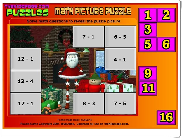 http://www.thekidzpage.com/learninggames/math_picture_puzzles/christmas-math-pic-puzzle-subt.swf