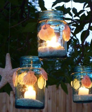 hanging jar lanterns with shells