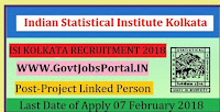Indian Statistical Institute Kolkata Recruitment 2018 – Project Linked Person