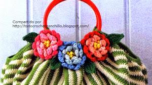 Bolso a rayas con flores