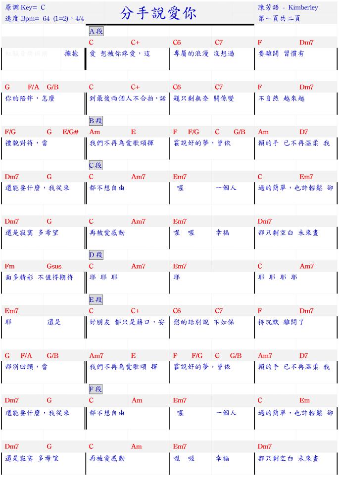 【虹韻音樂娛樂】- 吉他 & 烏克麗麗 : 【分手說愛你 - 陳芳語(Kimberley) 】- 和弦譜 - 吉他譜 - 烏克麗麗譜 - 簡易 ...