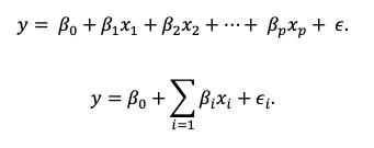 Fórmula de regresión multivariable.