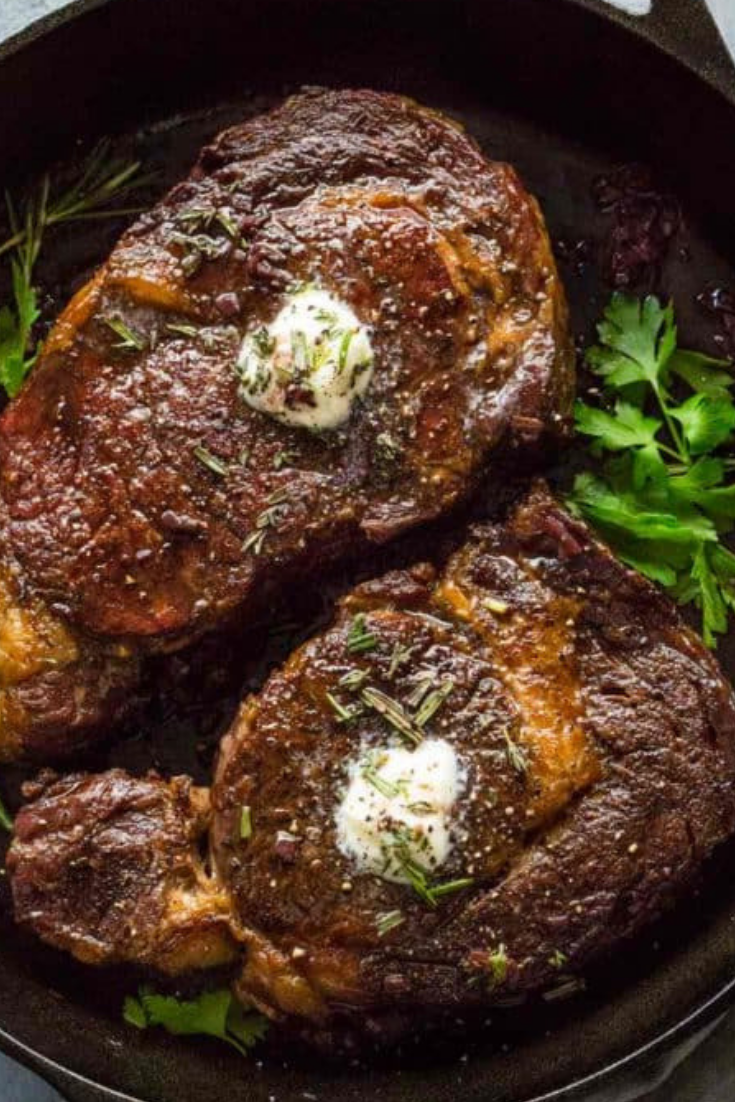 Ribeye Steaks Recipe with Red Wine Sauce