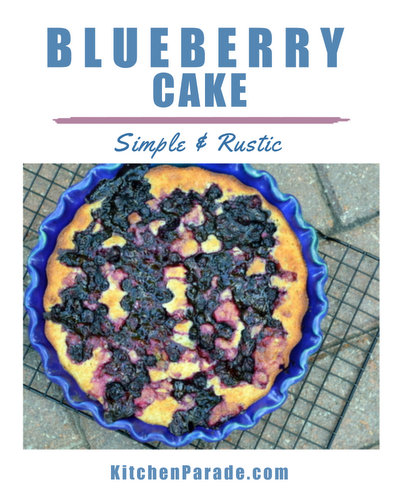Blueberry Cake ♥ KitchenParade.com, jammy blueberries baked into a simple, rustic cake. No mixer required!