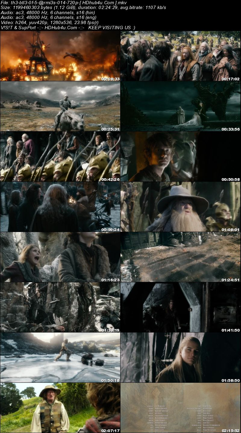 The Hobbit The Battle of The Five Armies 2014 Hindi Dual Audio 480p BluRay 400MB Download