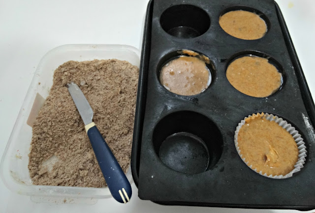 Muffins y mezcla para el crocante del crumble