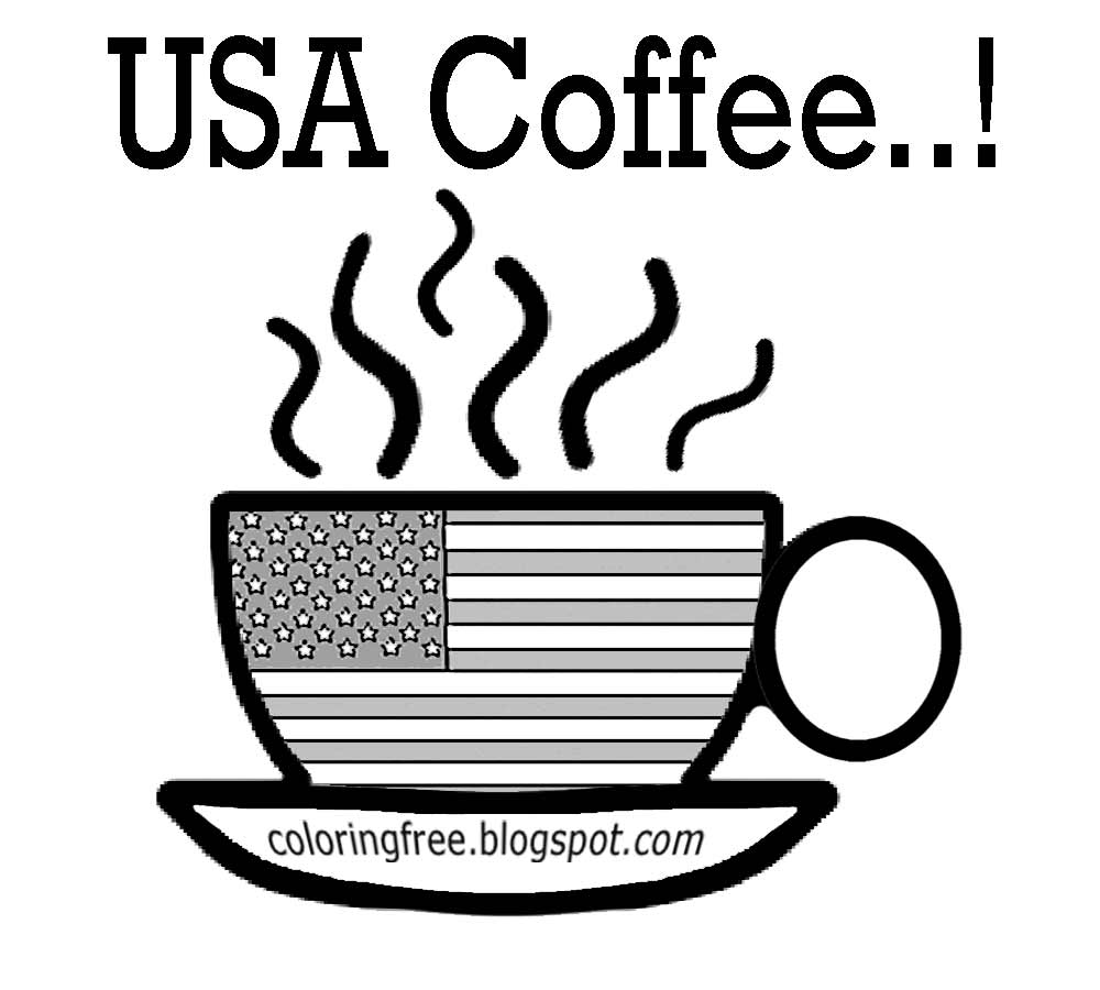 Coloring pages kitchen - American Kitchen Cup Easy Drawing To Color Usa Coffee Coloring Pages Chocolate Hot Drink Production