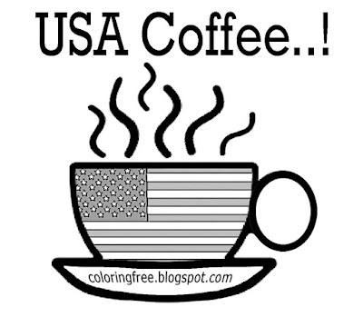 American kitchen cup easy drawing to color USA coffee coloring pages chocolate hot drink production