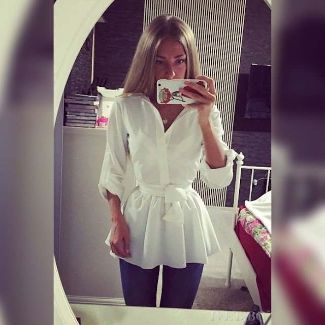 Μακρυμάνικο άσπρο γυναικείο πουκάμισο ALBERTINA