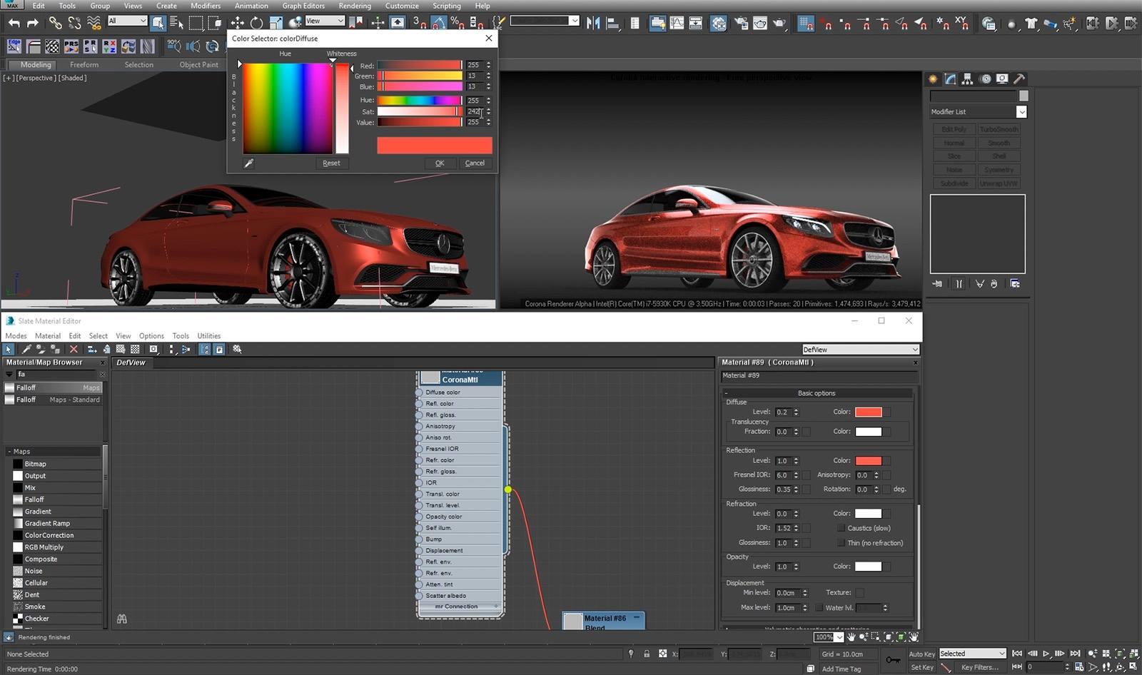 Creating Car Paint In Corona Render Cg Tutorial